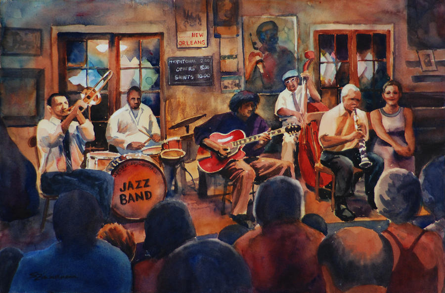New Orleans Painting - Preservation Hall Jazz Band by Sue Zimmermann