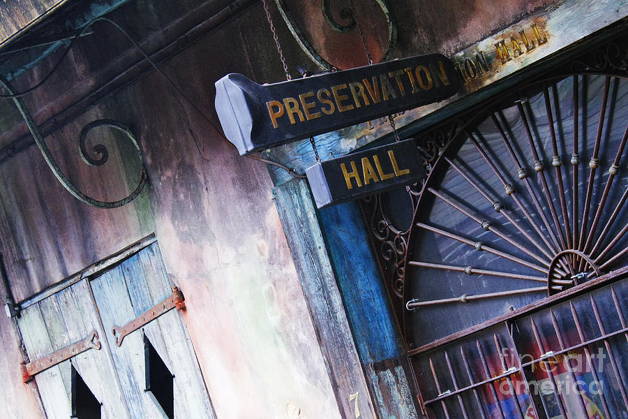 Architectural Detail Photograph - Preservation Hall Sign by Jeremy Woodhouse