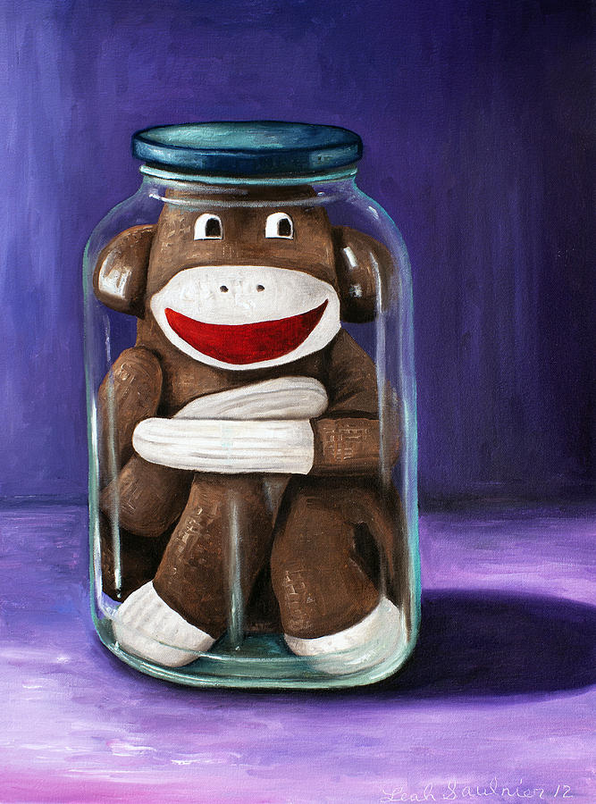 Sock Monkey Painting - Preserving Childhood 3 by Leah Saulnier The Painting Maniac