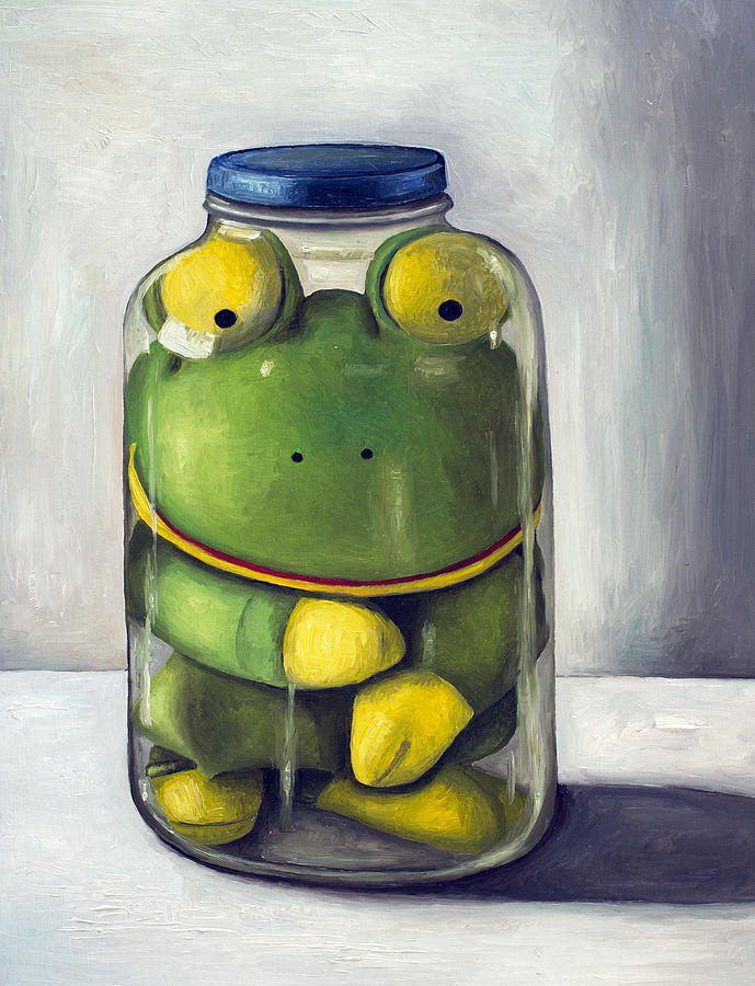 Frog Painting - Preserving Childhood Upclose by Leah Saulnier The Painting Maniac