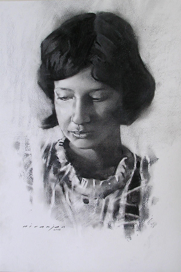 Charcoal Drawing - Preshita by Niranjan Mhamane