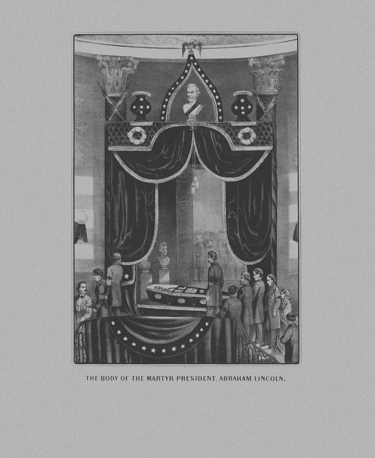 Abe Lincoln Drawing - President Abraham Lincoln Lying In State by War Is Hell Store