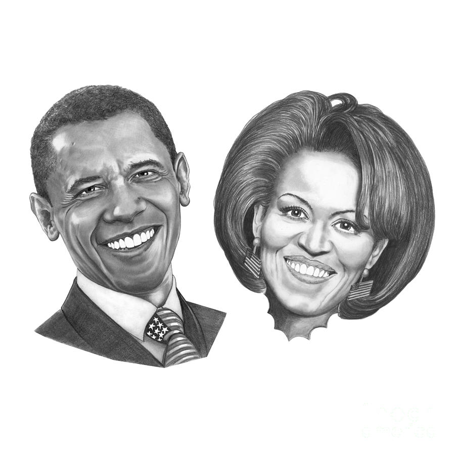 Drawings Drawing - President And First Lady Obama by Murphy Elliott