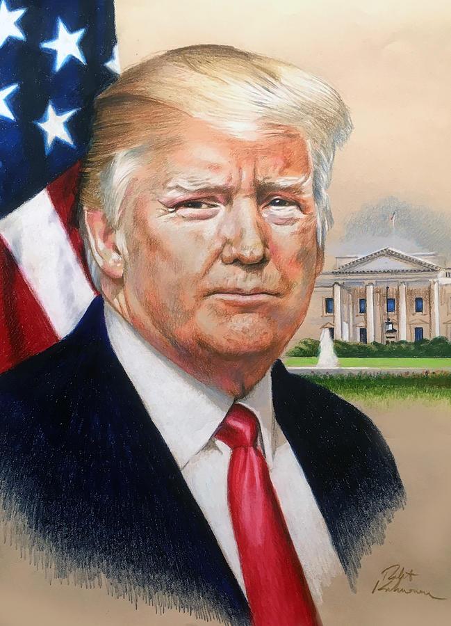 President Donald Trump Art Drawing by Robert Korhonen