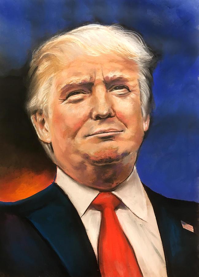 President Donald Trump Portrait Drawing by Robert Korhonen