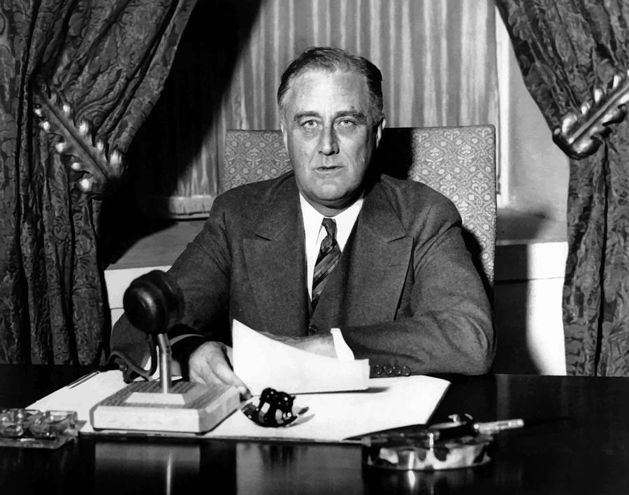 Franklin Roosevelt Photograph - President Franklin Roosevelt by War Is Hell Store