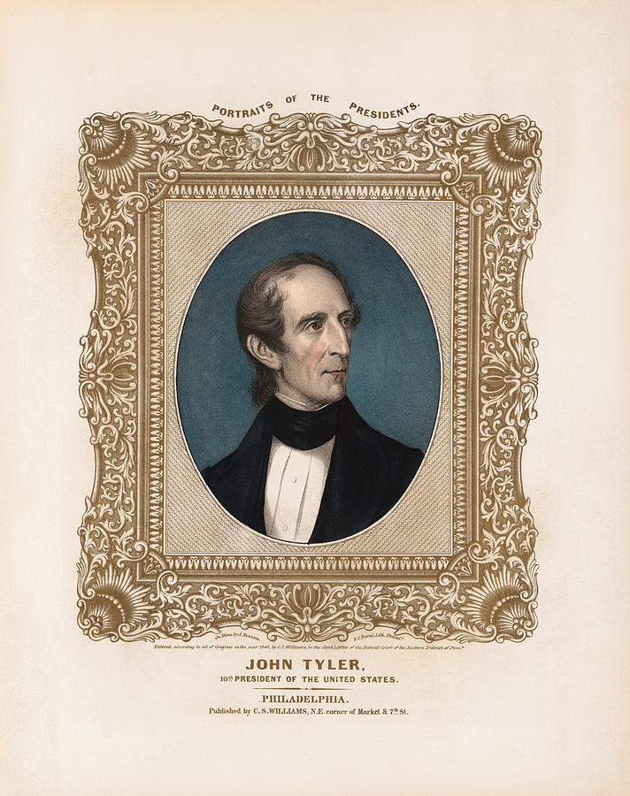 John Tyler Drawing - President John Tyler - Vintage Color Portrait by War Is Hell Store