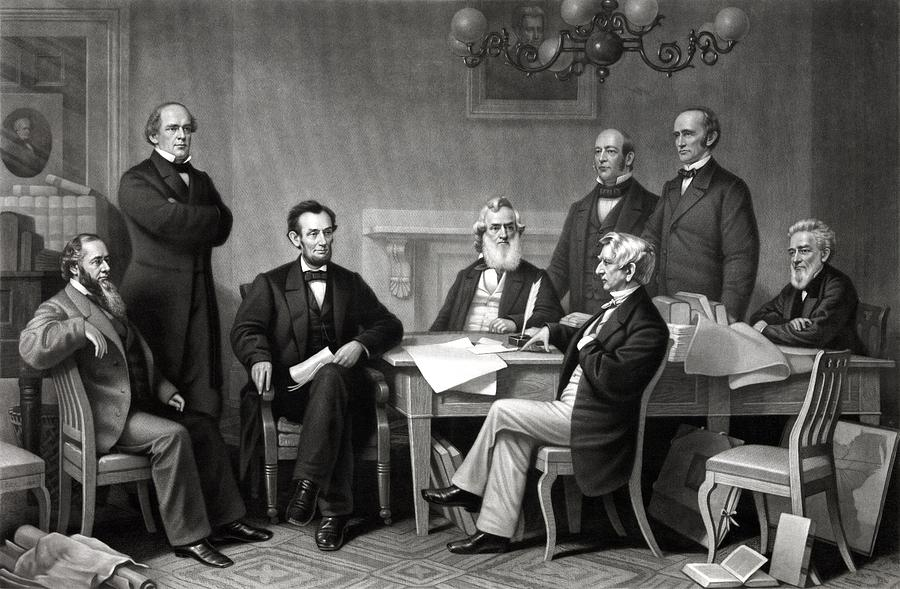 Abraham Lincoln Drawing - President Lincoln and His Cabinet by War Is Hell Store