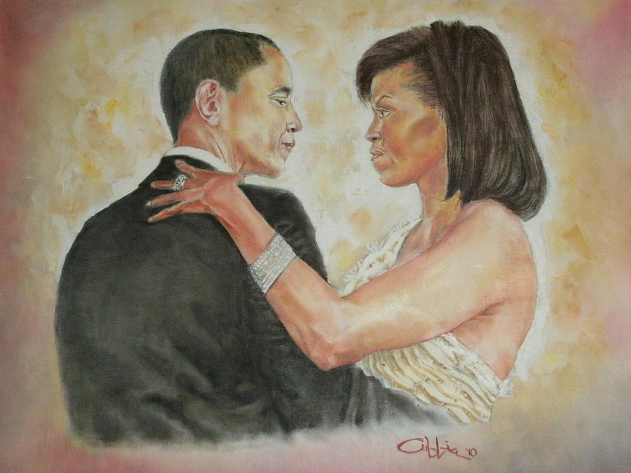 44th President Painting - President Obama and First Lady by G Cuffia