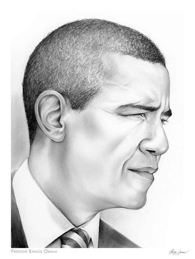 President Drawing - President Obama by Greg Joens