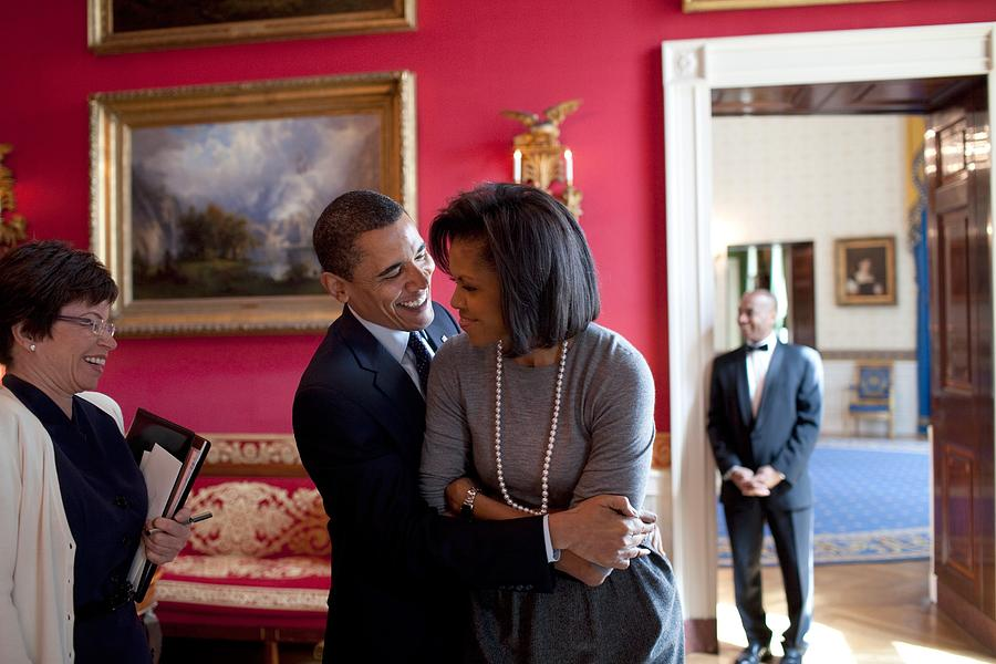 History Photograph - President Obama Hugs First Lady by Everett