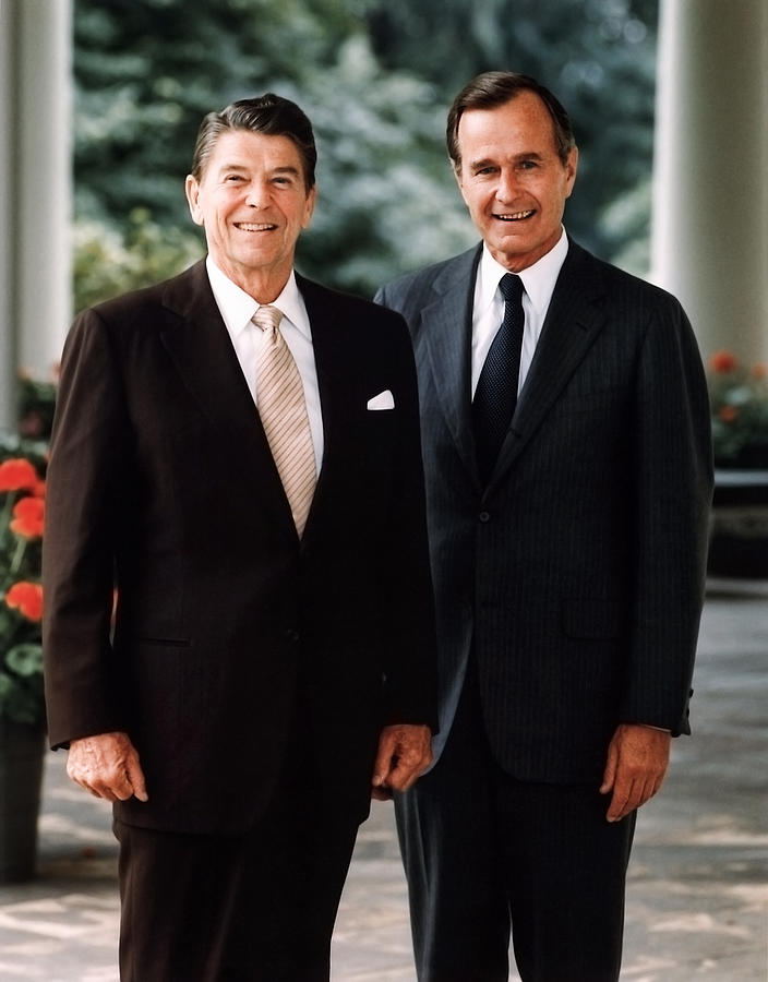 President Reagan Photograph - President Reagan And George H.w. Bush - Official Portrait  by War Is Hell Store