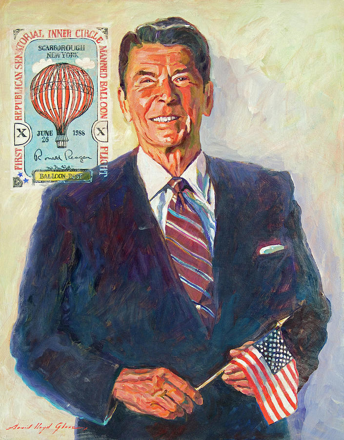 Presidents Painting - President Reagan Balloon Stamp by David Lloyd Glover