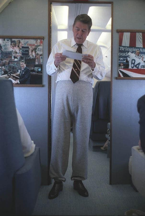 History Photograph - President Reagan Wearing Sweatpants by Everett