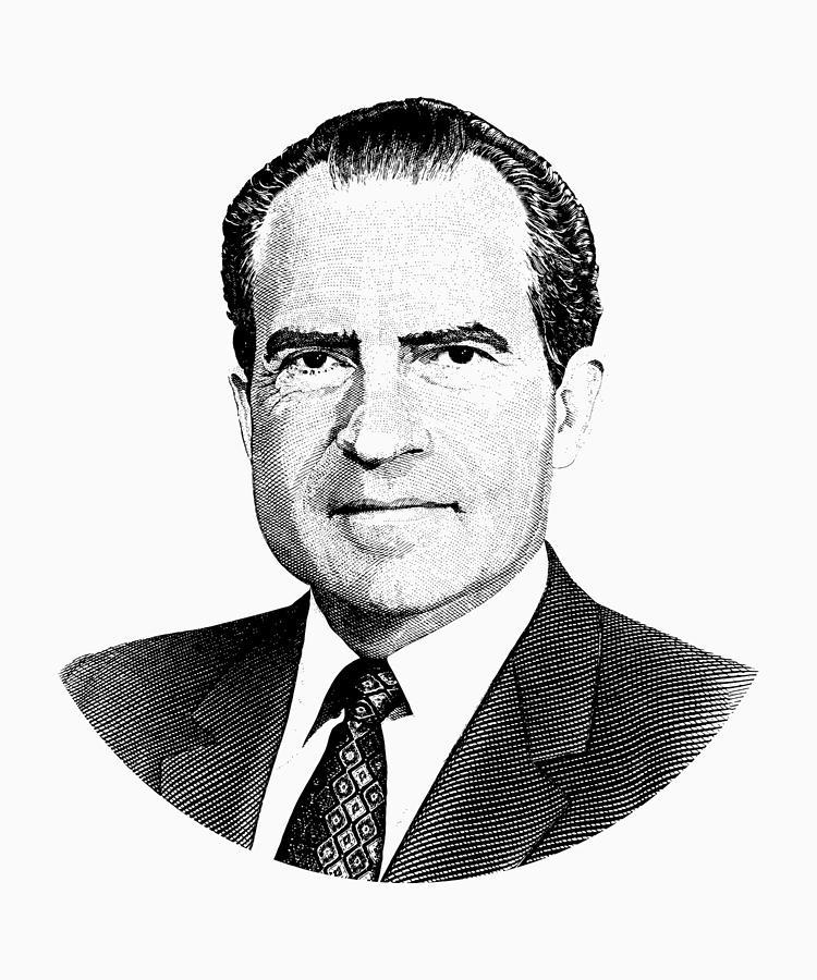 Nixon: President Richard Nixon Graphic Black And White Digital