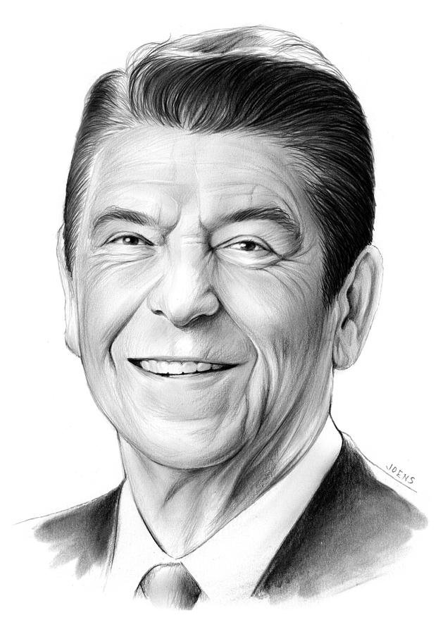 President Drawing - President Ronald Reagan by Greg Joens