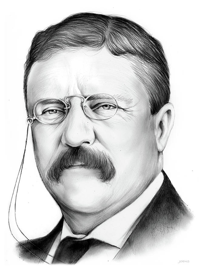 Theodore Roosevelt Drawing - President Theodore Roosevelt by Greg Joens