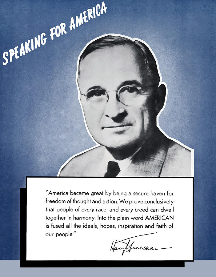 Harry Truman Painting - President Truman Speaking For America by War Is Hell Store