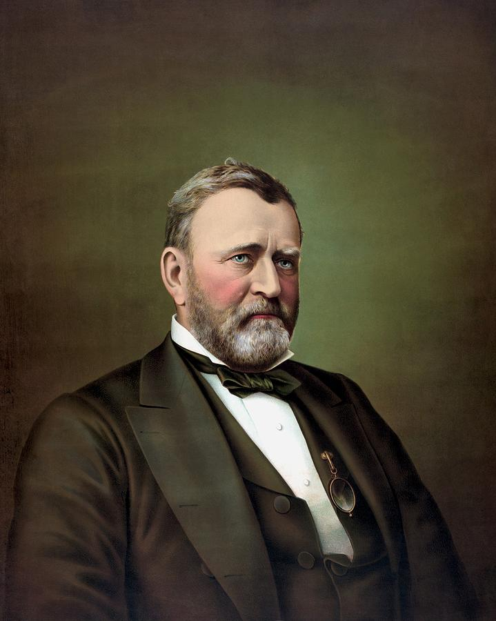 President Grant Painting - President Ulysses S Grant Portrait by War Is Hell Store