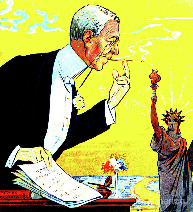 Humour Photograph - President Woodrow Wilson And The 15th Proposition For The League Of Nations by French School