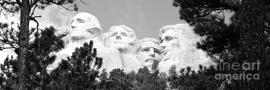 South Dakota Photograph - Presidents Of Mount Rushmore Framed By South Dakota Forest Trees Panoramic Black And White by Shawn OBrien
