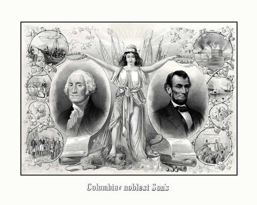 Abraham Lincoln Drawing - Presidents Washington And Lincoln by War Is Hell Store