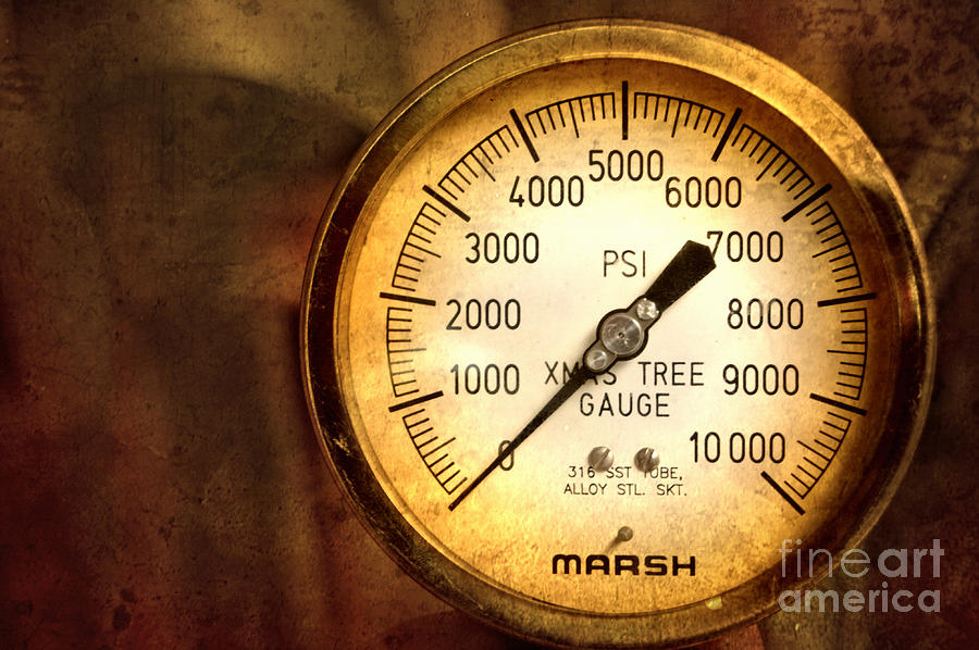 Pressure Gauge Photograph - Pressure Gauge by Charuhas Images