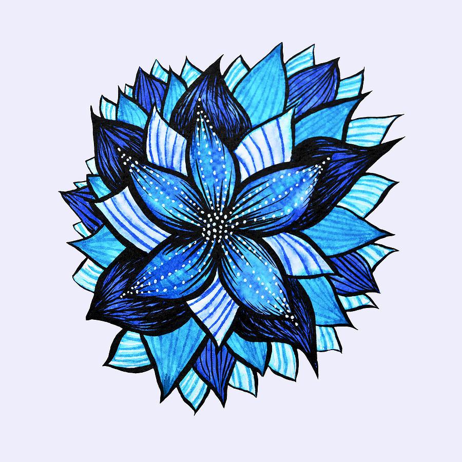 Pretty Abstract Blue Mandala Like Flower Drawing