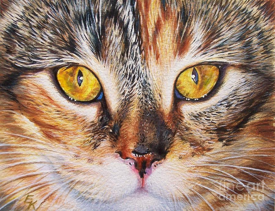 Cat Painting - Pretty Alice by Elena Kolotusha