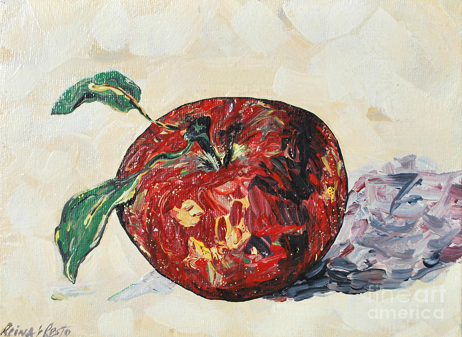 Apples Painting - Pretty Apple by Reina Resto