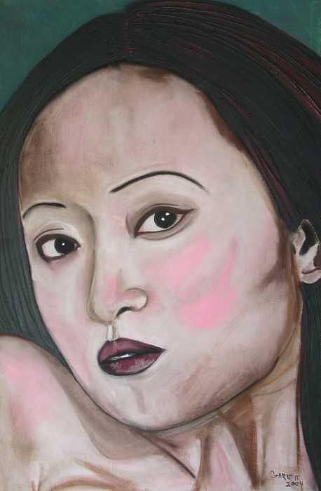 Portrait Painting - Pretty Asian Lady by Garnett Thompkins