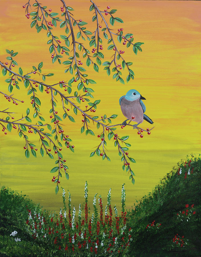 Nature Painting - Pretty Bird by Nicole Paquette