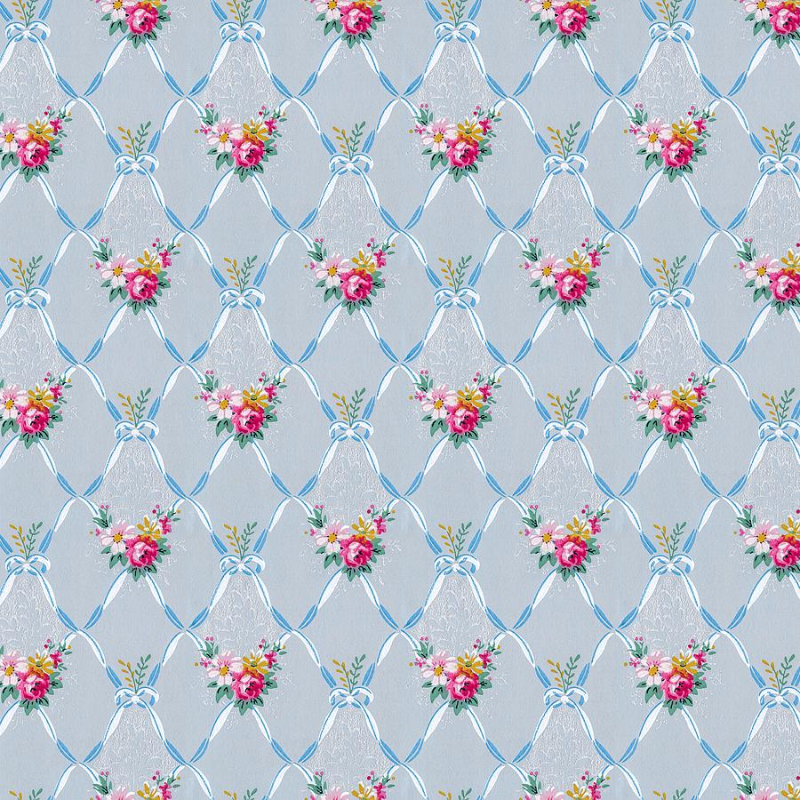Pretty Blue Ribbons Rose Floral Vintage Wallpaper by Tracie Kaska