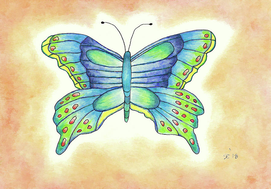 Colored Pencil Drawing - Pretty Butterfly by Susan Campbell