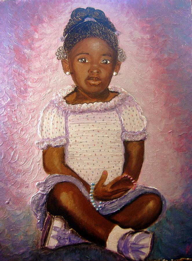 Pretty Girl Painting - Pretty Girl In Purple  by Keenya  Woods