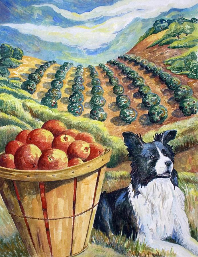 Apple Painting - Pretty Little Dog by Paula McHugh