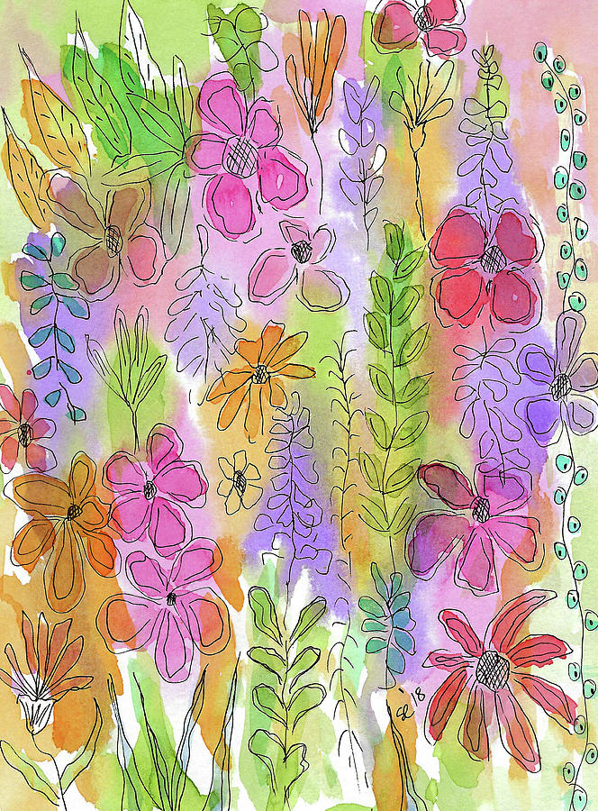 Watercolor And Ink Painting - Pretty Little Flower Garden by Susan Campbell