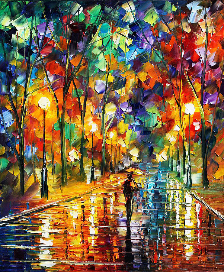 Art Gallery Painting - Pretty Night - Palette Knife Oil Painting On Canvas  By Leonid Afremov
