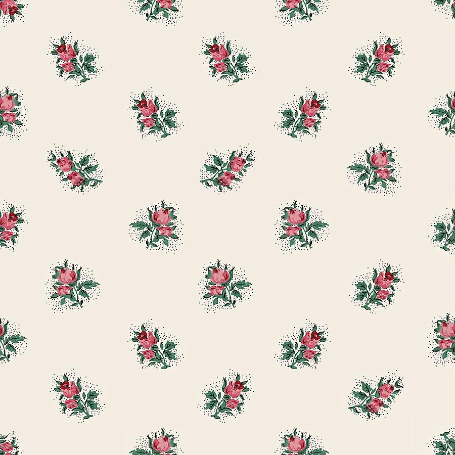 Pretty Pink Roses Girly Vintage Wallpaper Pattern Digital ...