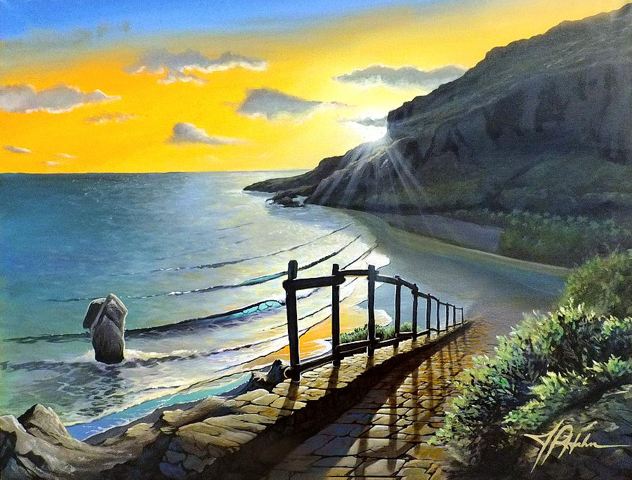 Crete Painting - Preveli by James R Hahn