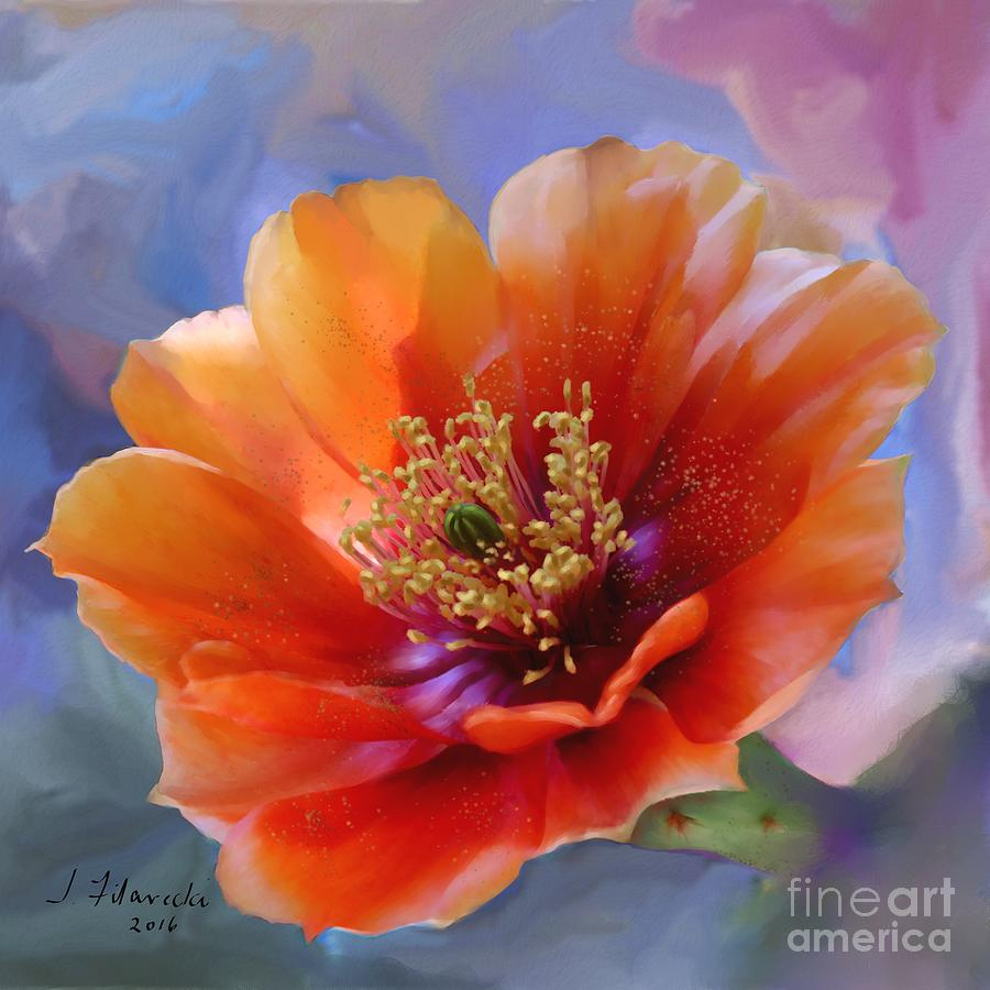 Floral Painting - Prickly Pear Bloom by Judy Filarecki