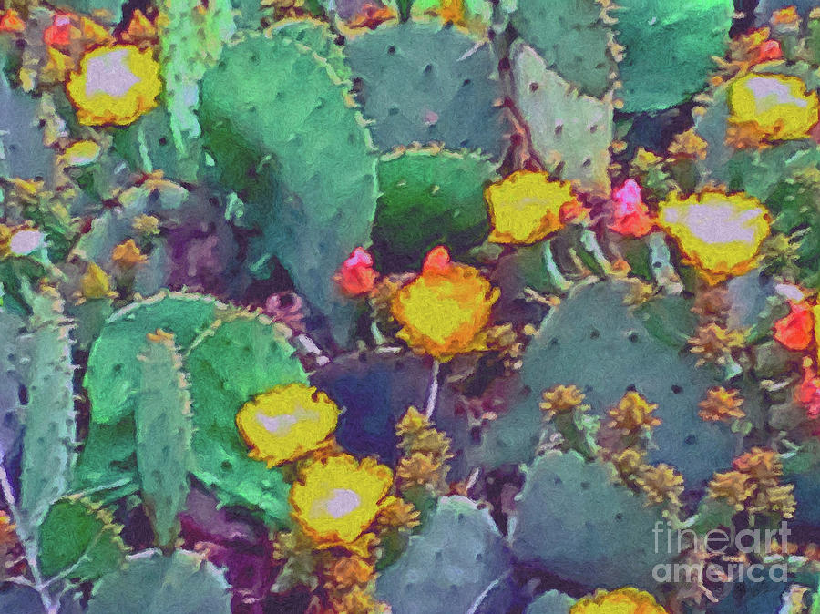Prickly Pear Cactus 2 Painting - Prickly Pear Cactus 2 by Methune Hively