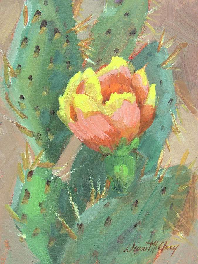 Cactus Painting - Prickly Pear Cactus Bloom by Diane McClary