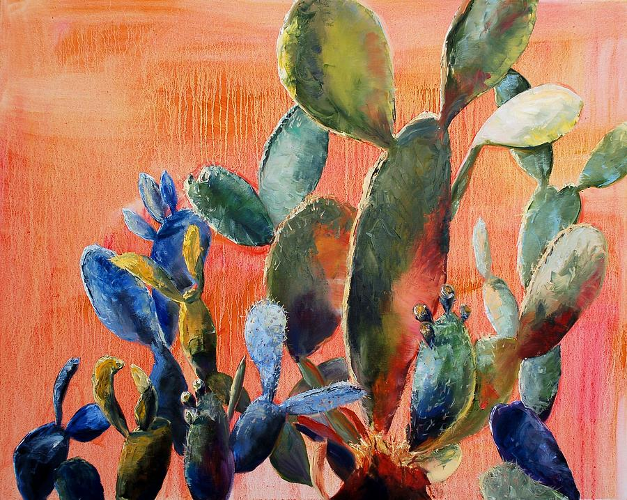 Cactus Painting - Prickly Pear by Lynee Sapere