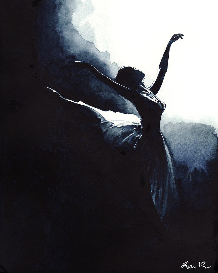 Ballet Dancer Painting - Prima Ballerina Tutu Swan Lake Pointe White Swan Black Swan by Laura Row