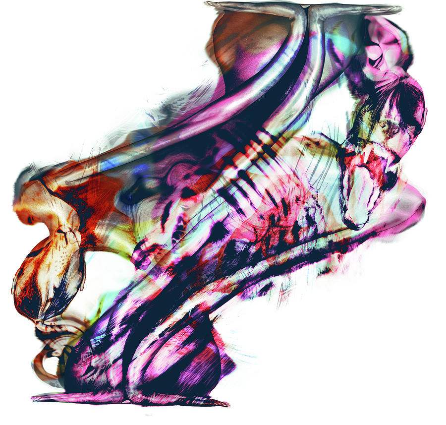 Curves Mixed Media - Primal Instinct by Haufi Ficoure