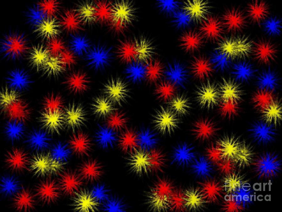 Clay Digital Art - Primary Bursts Under Glass by Clayton Bruster