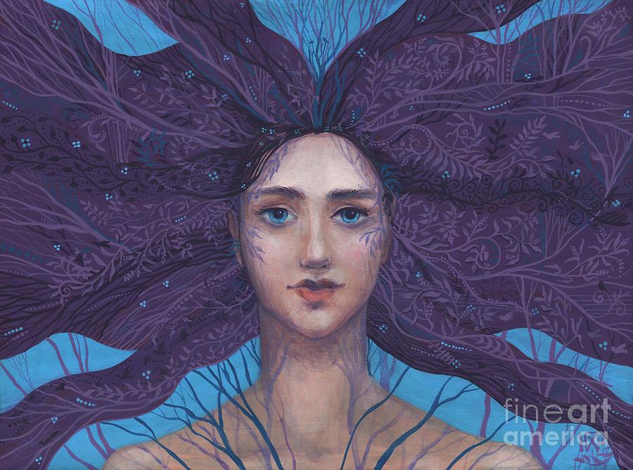 Flora Painting - Primavera, spring goddess, imaginary portrait by Julia Khoroshikh