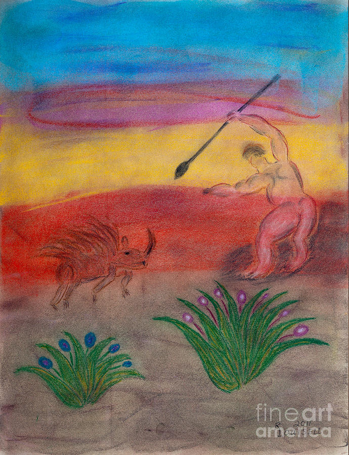 Pastel Pastel - Primitive Man Hunting by Robyn Louisell