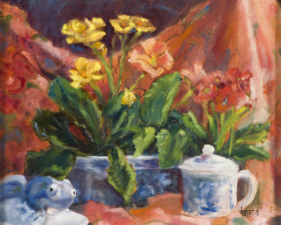 Flowers Painting - Primroses And Blue China by Jimmie Trotter